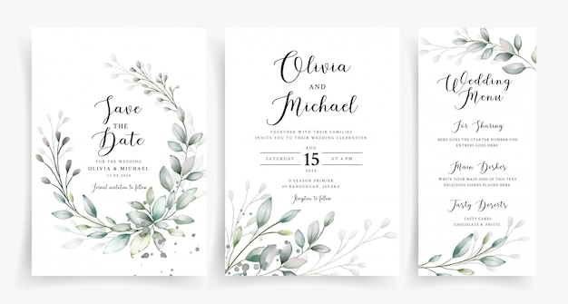 Modèle de carte d'invitation de mariage élégant verdure aquarelle