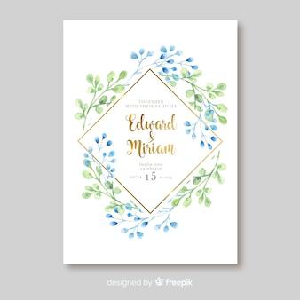 Modèle de carte d'invitation de mariage élégant