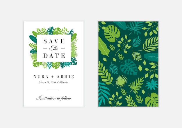 Modèle de carte invitation de mariage avec des feuilles tropicales exotiques - vecteur