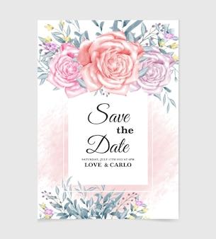 Modèle de carte d'invitation de mariage avec fleur aquarelle