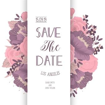 Modèle de carte invitation de mariage avec une fleur colorée.