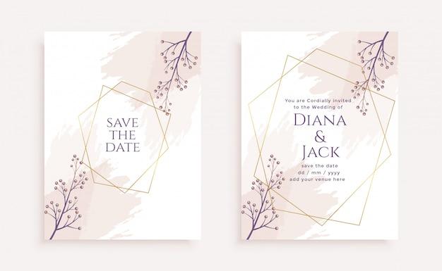 Modèle de carte d'invitation de mariage fleur élégante