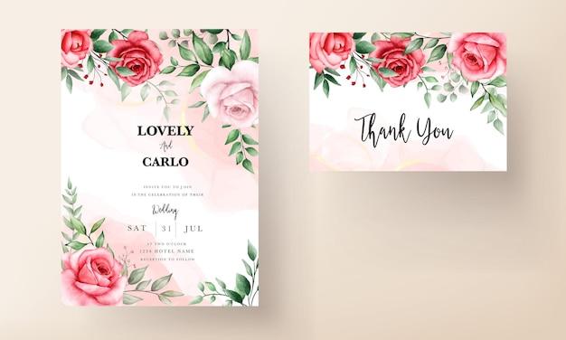 Modèle de carte d'invitation de mariage fleur marron romantique