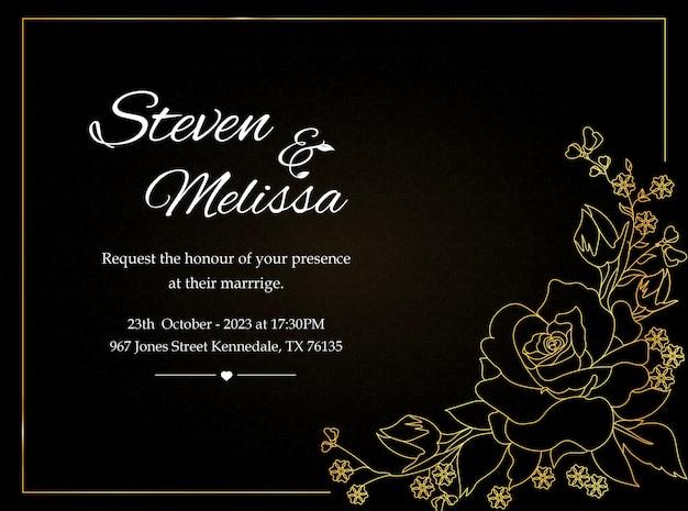 Modèle de carte d'invitation de mariage avec fleur d'or
