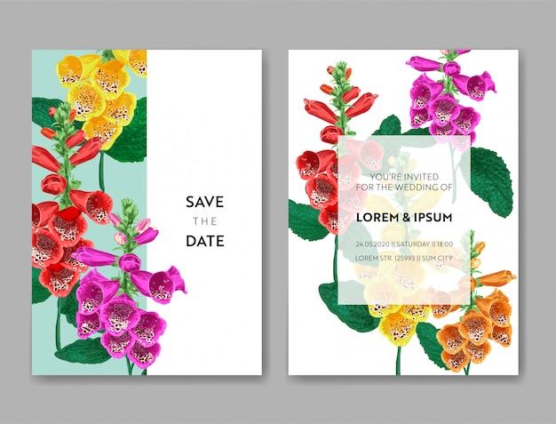 Modèle de carte invitation de mariage avec des fleurs et des feuilles de palmier.