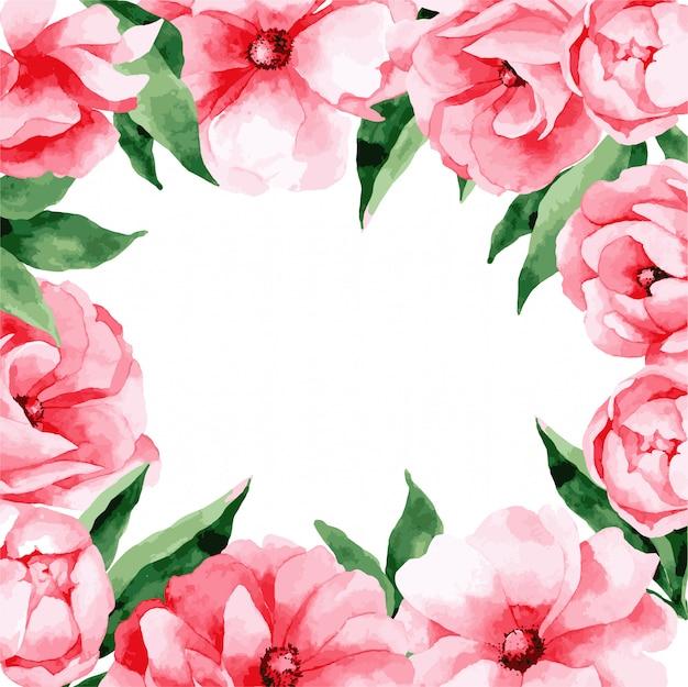 Modèle de carte d'invitation de mariage avec des fleurs de printemps rose, illustration.