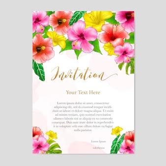 Modèle de carte invitation mariage floral aquarelle