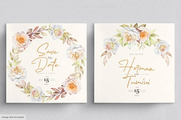 Modèle De Carte D & # 39; Invitation De Mariage Floral Aquarelle Vecteur gratuit