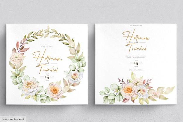 Modèle de carte d & # 39; invitation de mariage floral aquarelle