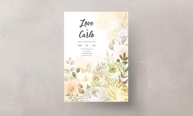 Modèle de carte d'invitation de mariage floral automne automne chaud