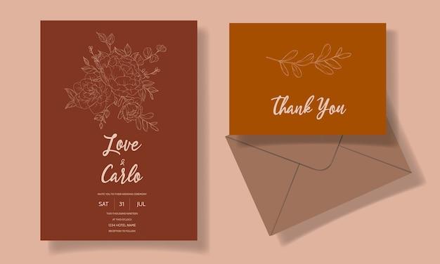 Modèle de carte d'invitation de mariage floral beau et élégant