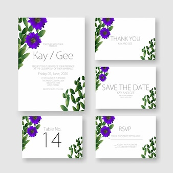 Modèle de carte d'invitation de mariage floral - beau et étonnant costume de carte de mariage floral