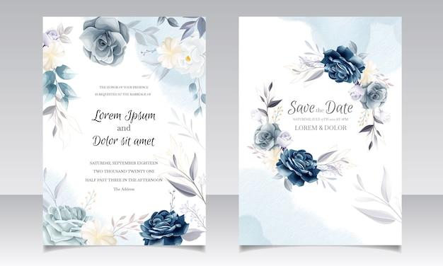 Modèle de carte d'invitation de mariage floral bleu marine avec des feuilles d'or et un cadre aquarelle