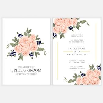 Modèle de carte d'invitation de mariage floral avec bouquet de rose