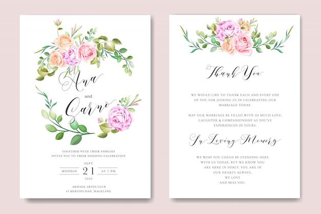 Modèle de carte invitation mariage floral avec couronne florale