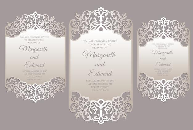 Modèle de carte d'invitation de mariage floral découpé au laser. conception de cadre de bordure ornée.