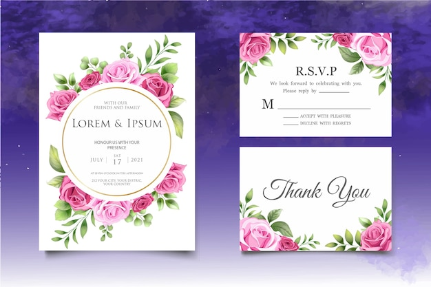 Modèle de carte d'invitation de mariage floral dessin à la main