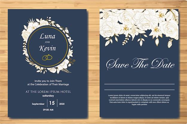 Modèle de carte invitation de mariage floral dessiné main élégant