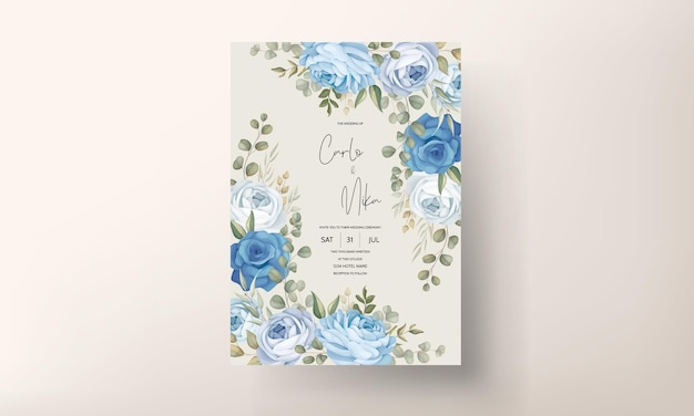 Modèle de carte d'invitation de mariage floral dessiné à la main
