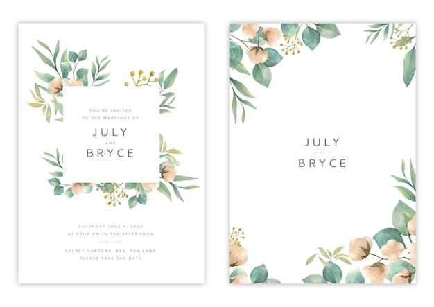 Modèle de carte d'invitation mariage floral dessinée à la main