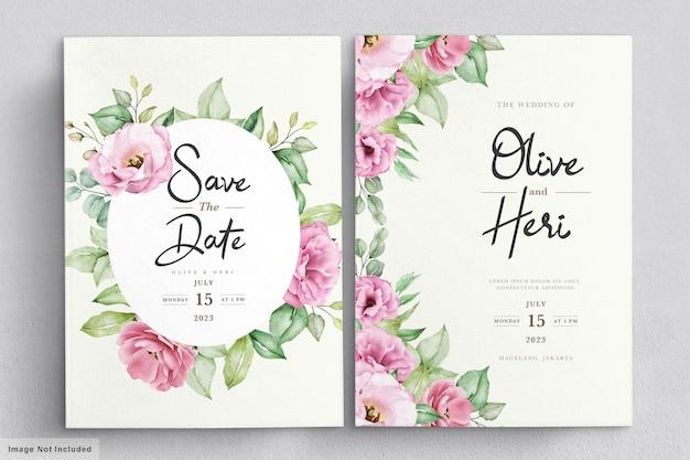 Modèle de carte d'invitation de mariage floral doux élégant