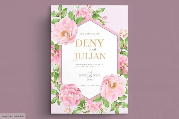 Modèle de carte d'invitation de mariage floral élégant camélia