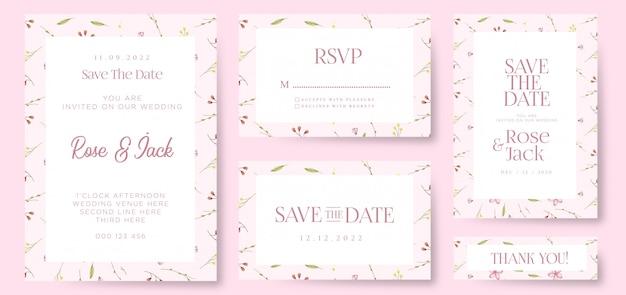 Modèle de carte d'invitation de mariage floral élégant