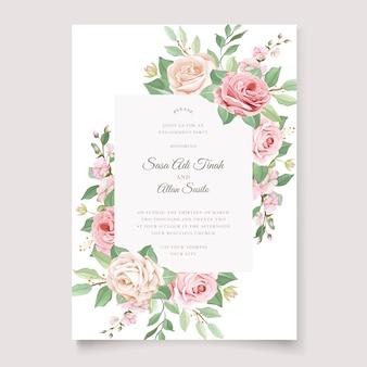 Modèle de carte d'invitation de mariage floral et feuilles