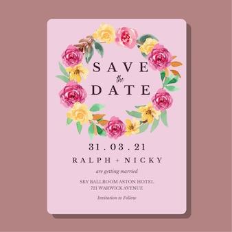 Modèle de carte d'invitation de mariage floral lâche aquarelle jaune et magenta