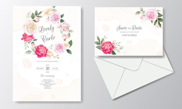 Modèle de carte d'invitation de mariage floral magnifique serti d'aquarelle