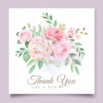 Modèle de carte d'invitation de mariage floral magnifique