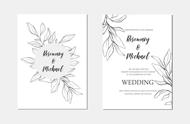 Modèle de carte d'invitation de mariage floral minimaliste d'art de ligne botanique. croquis de feuilles noires dessinées à la main. conception de mise en page de mariage illustration vectorielle
