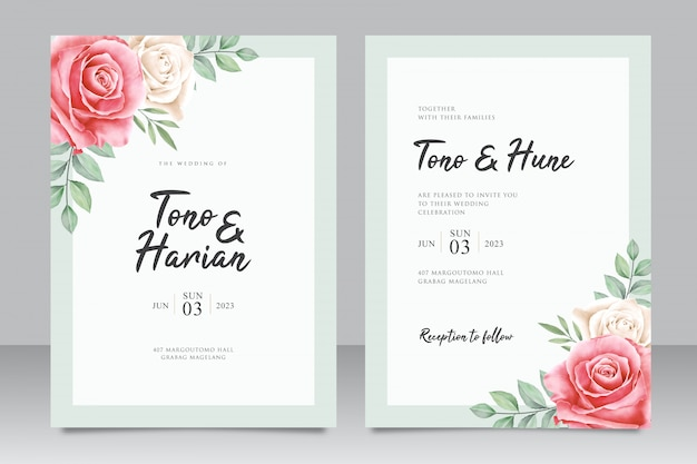 Modèle de carte d'invitation de mariage avec floral minimaliste