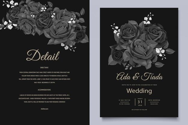 Modèle de carte d'invitation de mariage floral noir élégant