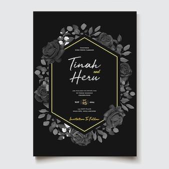 Modèle de carte d'invitation de mariage floral noir