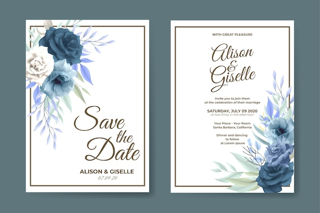Modèle de carte d'invitation de mariage floral rose bleu élégant