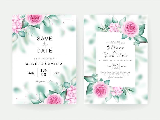 Modèle de carte d'invitation de mariage floral serti d'arrangements floraux aquarelles et bordure.