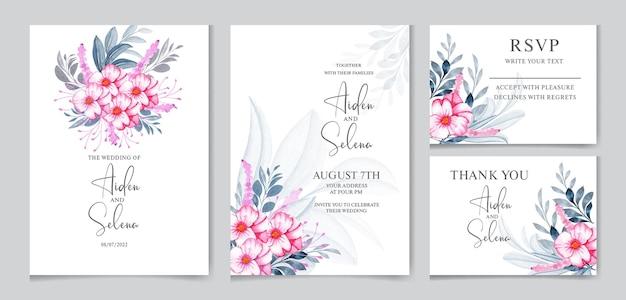 Modèle de carte d'invitation de mariage floral sertie de fleur rose tendre et décoration de feuilles aquarelle
