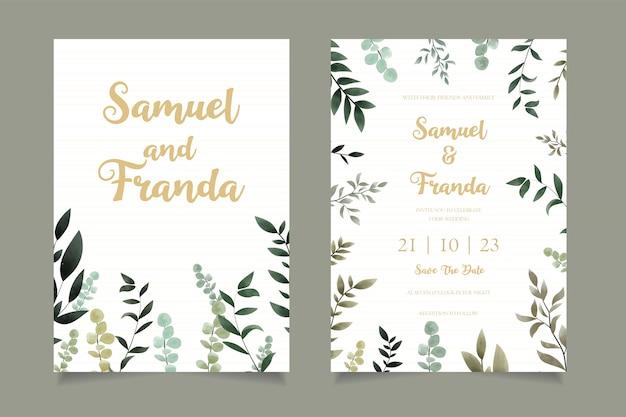 Modèle de carte d'invitation de mariage floral simple