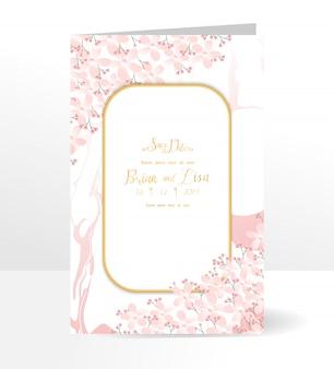 Modèle de carte invitation mariage floral avec style de belles fleurs.