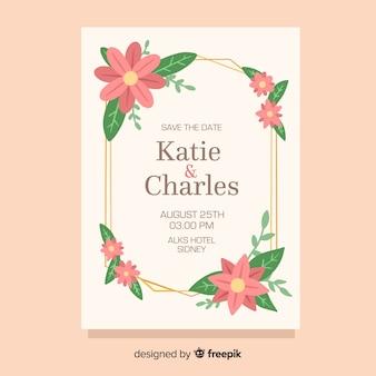 Modèle de carte d'invitation de mariage floral