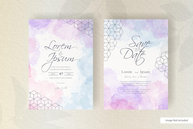Modèle de carte d'invitation de mariage fluide dynamique abstraite avec décoration aquarelle liquide peinte à la main
