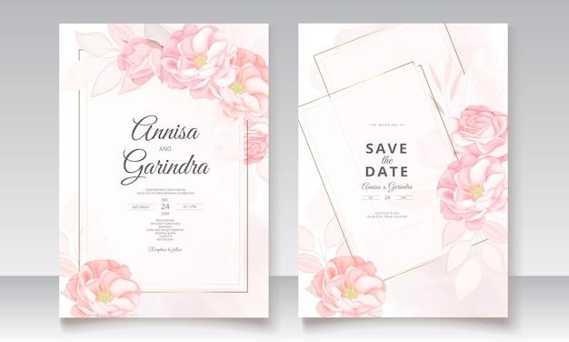 Modèle de carte d'invitation de mariage géométrique sertie de belles feuilles florales