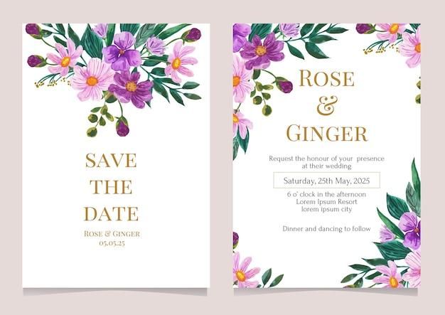 Modèle de carte d'invitation de mariage illustration aquarelle fleur pourpre