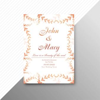Modèle de carte invitation de mariage avec illustration de fond floral décoratif