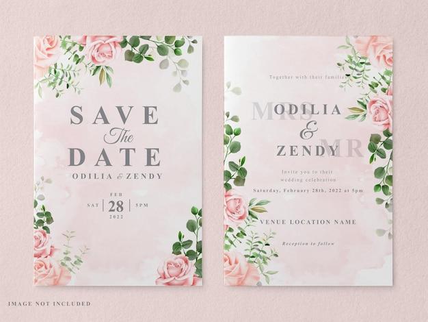 Modèle de carte d'invitation de mariage imprimable avec beau dessiné à la main floral