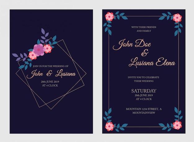 Modèle de carte invitation de mariage, invitation florale merci, carte moderne rsvp conception avec des branches bleu marine