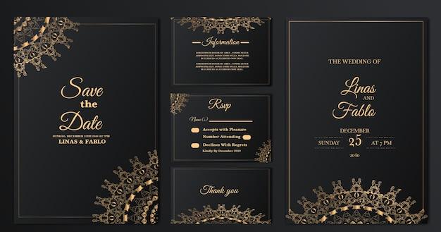 Modèle de carte d'invitation de mariage de luxe collection set