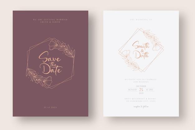 Modèle de carte d'invitation de mariage de luxe et minimal avec illustration de couronne florale de style art ligne