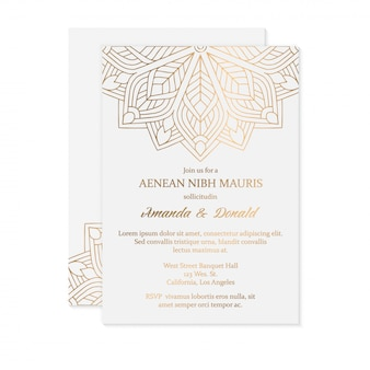 Modèle de carte d'invitation de mariage de luxe